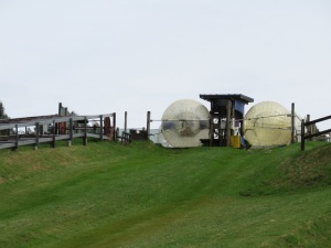 Zorb balls at the top off the hill