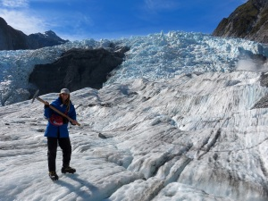 Me on the glacier in full gear and crampons!