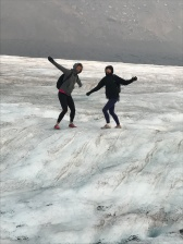 Suz and Stina being dorks on the glacier