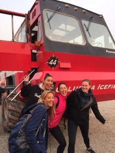 Boarding the snowcoach to the Athabasca Glacier