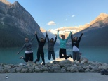 Jumping for joy at Lake Louise