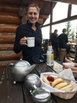 Stina enjoying some tea at Lake Agnes Tea House