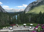 The view from the pool of the Fairmont Banff Springs