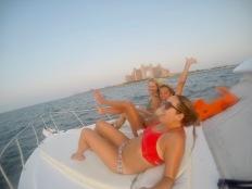 Drunk on boat in front of Atlantis