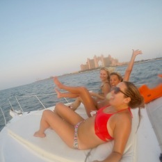 Drunk on boat in front of Atlantis