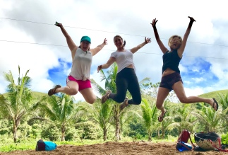 Jumping for joy at the Chocolate Hills
