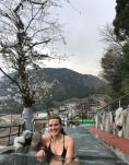 Carly at the Hakone Kowakien Yunessun terrace spa