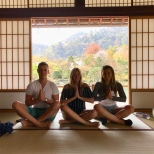 Praying to survive the tourists at the Tenryu-ji Temple