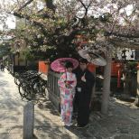A couple playing dress up in Gion