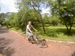 Carly biking through the ruins of Polonnaruwa