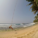 Carly beach swinging at Dalawella beach